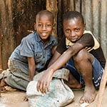 TRAVEL PHOTOS - CHILDREN IN THE KIBERA SLUM IN NAIROBI
